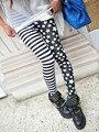 2017 Primavera Longitud Del Tobillo Leggins Mujeres Rayas y Patchwork Estrella Brillante Delgado Impreso Leggings Push Up Pantalones