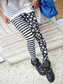2017 Spring Ankle Length Leggins Women Striped and Star Patchwork Shiny Slim Printed Leggings Push Up Pants