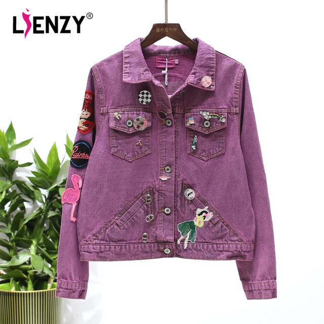 Lienzy Autumn Retro Denim Jacket For Women Purple Embroidered Jeans Liques 4 Pocket Female Coat