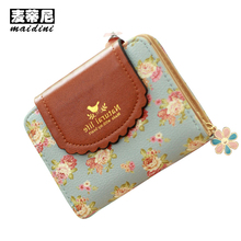 Fresh Floral Print Short Wallet for Girls Small Lace Coin Purse Hasp Design Womens Wallet 2017 Sweet Ladies Money Bags Carteira