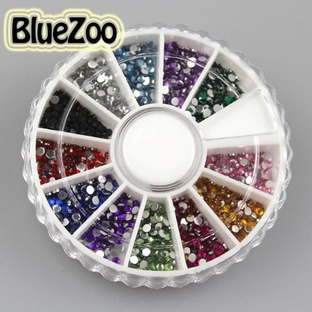 BlueZoo 1800pcs 12 Colors Nail Art rhinestones Acrylic Nail Decoration 2mm For UV Gel Iphone and laptop DIY Free Shipping