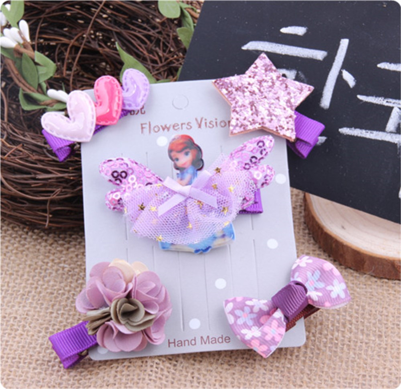 5pcs Kids Baby Girls Hair Clips Party Princess Floral Bow
