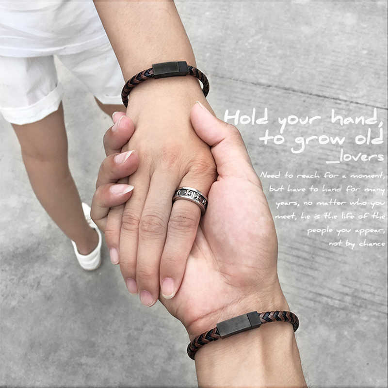 Mcllroy Leather bracelet/men/women/genuine/Couple bracelet for lovers bracelets custom word gifts for men Valentine's day 2019