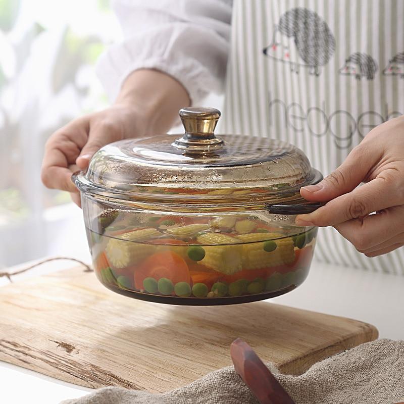 Bol en verre de thé de Style nordique avec bol à soupe en verre, bol en verre pour four à micro-ondes, bol à nouilles instantanées 1L