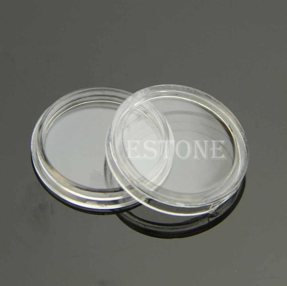 10 Pcs 18mm Aplicado Limpar Rodada Casos De Armazenamento Moeda Titular Cápsulas De Plástico Redondo