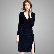 deep v neck velvet suede navy blue long sleeve high slit knee length dress  women autumn spring high split dress 2018 23f200b944fd