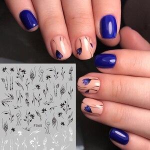 Image 5 - 1 arkusz kwiaty 3D naklejka do paznokci czarna linia paznokci artystyczny Design liść kwiaty lilia tulipan paznokcie naklejki dla dzieci DIY dekoracje