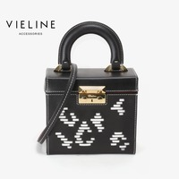 vieline genuine leather weaving shoulder bag ,Independent designer brand real leather women box Bags, lady leather handbag