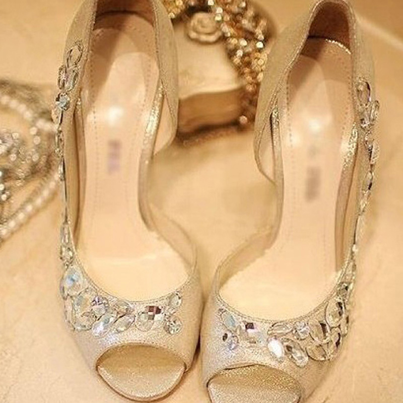 Gold Rhinestone Shoes/wedding shoes for Bridal Shoes Bridesmaid ...