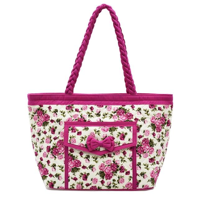 PaTaYa Women Beach Canvas Bag Fashion Thai Floral Printing Handbags Ladies  Large Shoulder Bag Totes Casual ffbe0e44066a3