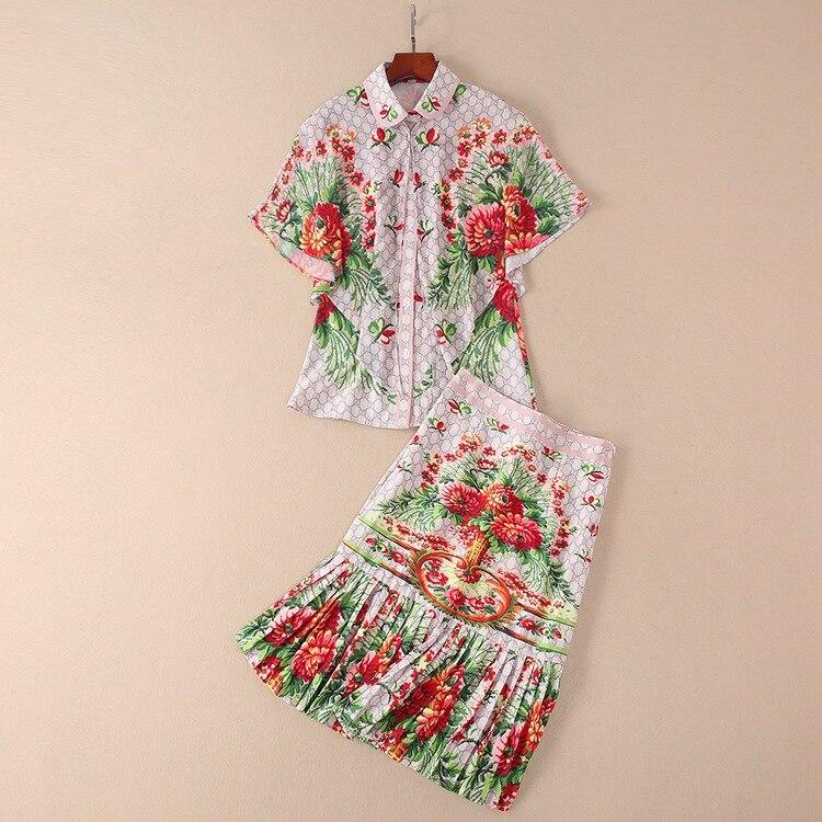 New Design Fashion Runway Suit 2018 New Summer Printed Sleeveless turn down collar Shirt + Skirt + Shawl Three-piece Suit