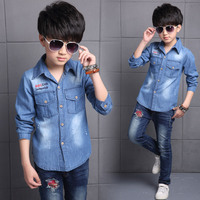 Boys Denim Shirts Big Boys Blouse 2018 Autumn Long Sleeve Kids Clothes Back To School Outfits Casual Top Teenager Clothing 10 12