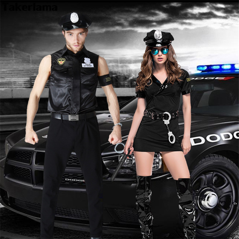 Takerlama Halloween Cosplay Costume Police Cosplay Costume Sexy Couples Black Cop Costumes Police Uniform Lovers Couples Costume