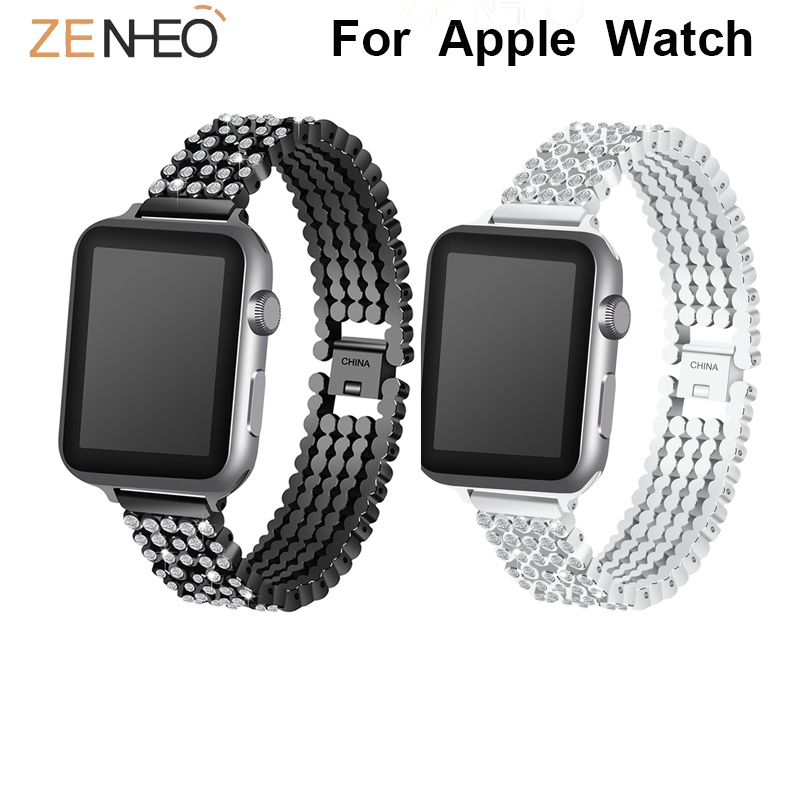For Apple Watch Series 1/2/3/4 Band Bracelet Strap 38mm 40mm 42mm 44mm Luxury Aluminum Alloy Link With Rhinestone Bracelet Band