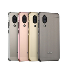 Luxury Aluminum Bumper Case For Sharp Aquos S2  Case Brushed Metal Hard PC Back Cover For SHARP AQUOS S2 Phone Bag Case 5.5'' for sharp aquos s2 top quality exquisite simplicity fashion leather vertical flip cover for sharp aquos s3 mini luxury case