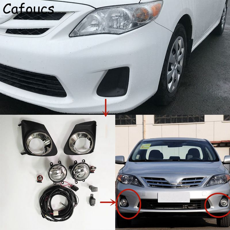 Cafoucs For Toyota Corolla 2011 2012 2013 Car Front Fog Lith Assembly With Bulbs Fog Lamp Switch Harness Relay for toyota corolla 2011 2012 2013 car protection abs chrome trim front racing up grid grill grille around frame lamp panel 1pcs