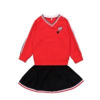 Girls Clothes Sets Autumn 2019 Children Clothing Long Sleeve Cartoon Eyes Sweater +Skirt 2pcs Suits School Uniform 10 12 Years