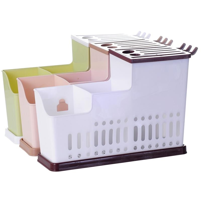 1 Stücke Multifunktionale Küche Geschirr Regale Kunststoff Ablauf Lagerung Box Für Stäbchen Löffel Messer Küche Zubehör