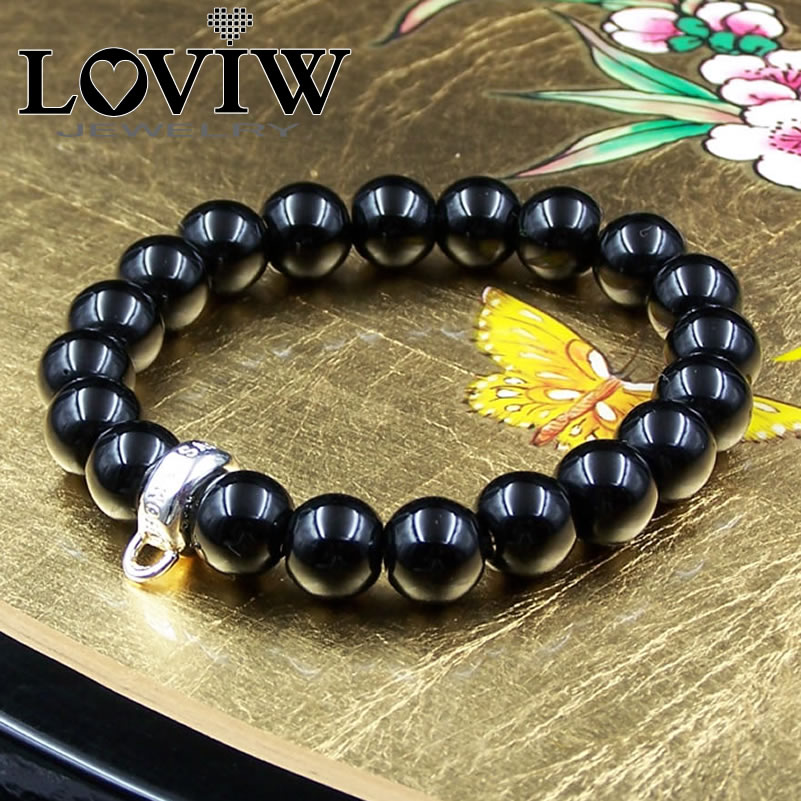 Black Onyx Beads Bracelet With Silver Carrier Thomas DIY Style 925 Sterling Silver Beaded Making Jewelry Stones For Women Men