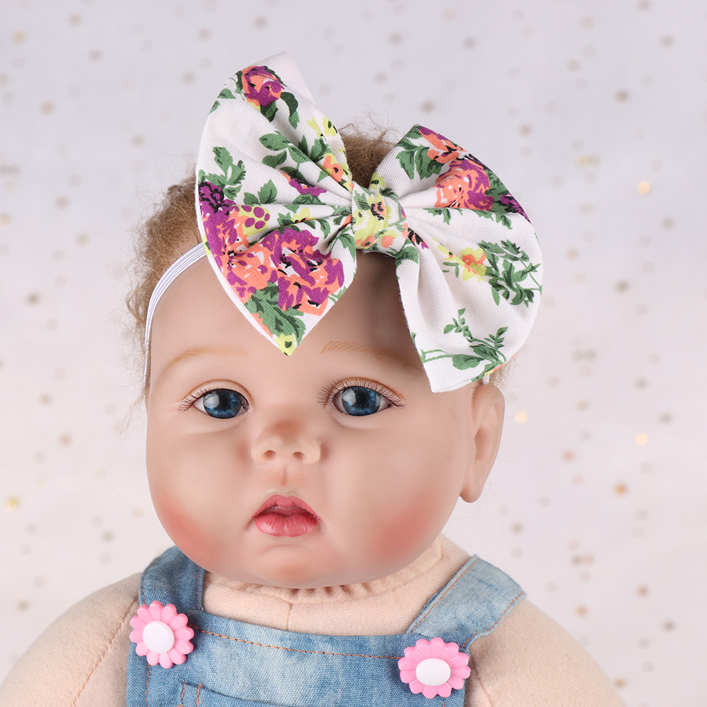 Baby Kids Girl Aqua Floral Headband Bow Knot Headdress Elastic Turban Headwrap Rabbit Ears Fashion Hair Band Accessories Accessories Girls' Baby Clothing