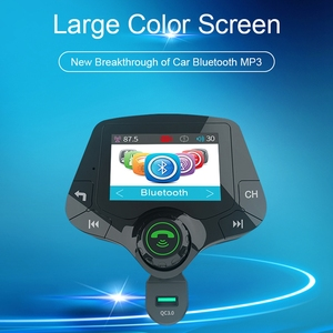 Image 3 - G24 HD Color Screen Wireless Car Kit Bluetooth MP3 Player Hands free Calling FM Transmitter Car Kit support QC 3.0 Fast charger