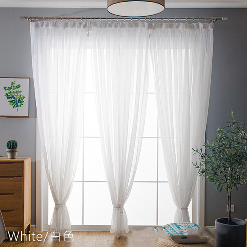 White Organza Purple Blue Voile Screen Solid Drape Panel Sheer Tulle Window Curtains For Living Room Bedroom Wedding Decoration