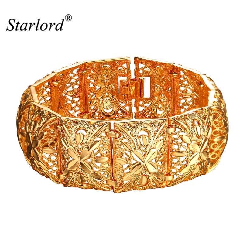 Prix pour Vintage Large Bracelet Manchette Pour Les Femmes Bijoux Indiens 20 cm Long 2.2 cm Largeur Or Couleur Mignon En Métal De Mode Bracelet bracelets H2400