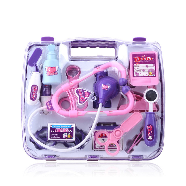 Kids Cosplay Doctor/Nurse Children Toys Simulation Medicine Box Set Educational Toys Blue/purple Kindergarten Ability Training