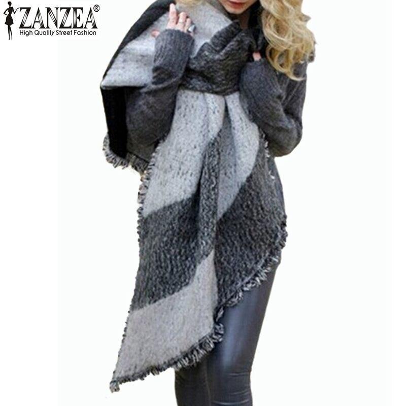 Zanzea 2019 Winter Zanzea Fashion Women Blanket   Scarf   Female Cashmere Pashmina Wool   Scarf   Shawl Warm Thick   Scarves   Cape   Wraps