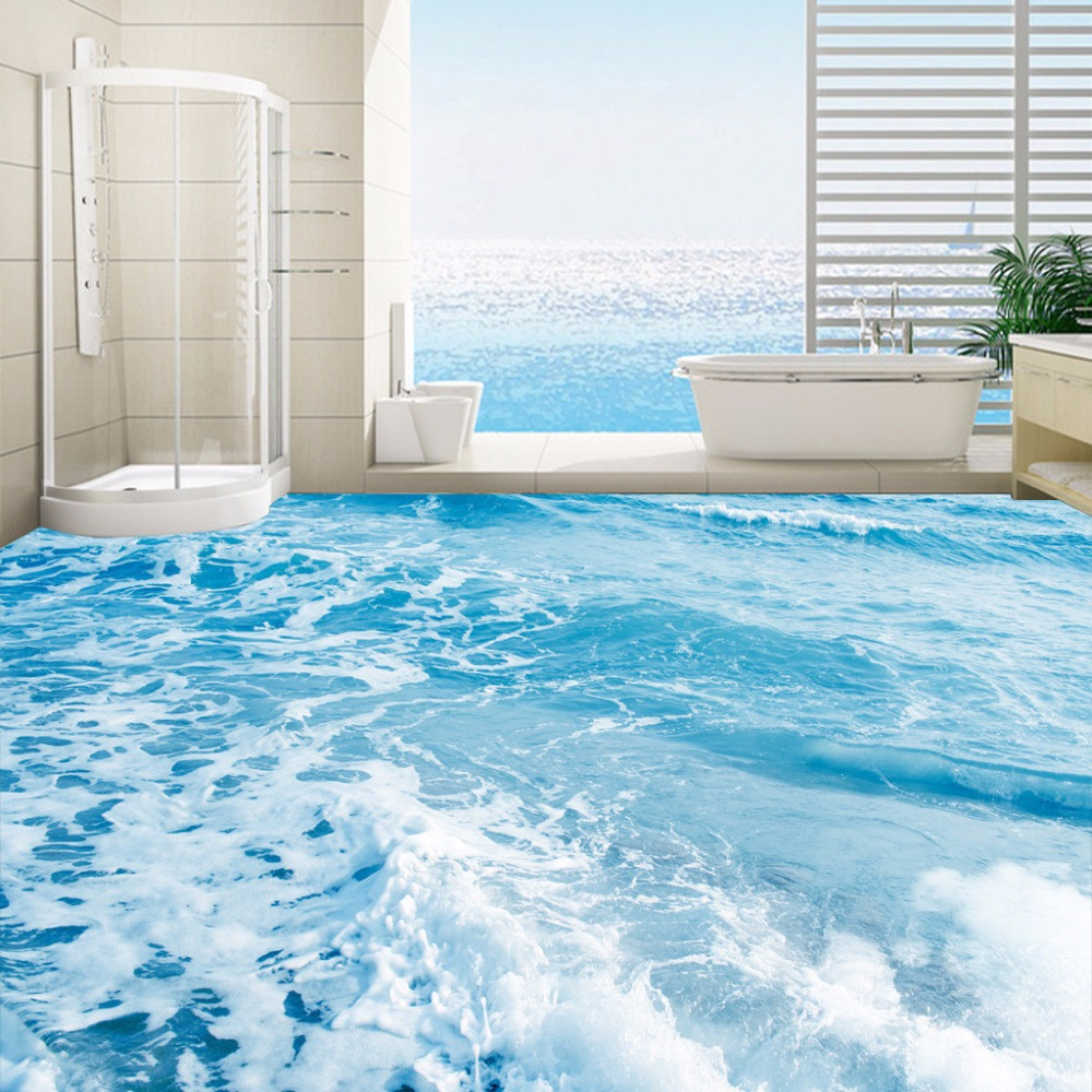 Custom 3D Floor Mural Wallpaper Sea Water Waves Floor Sticker Paintings Wear Non-slip Self-adhesive PVC Waterproof Floor Murals