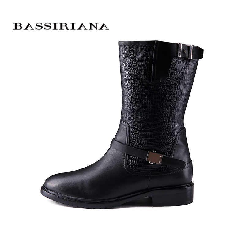 2017 yeni kış çizmeler ile kürk hakiki deri ayakkabı kadın büyük boy 35-40 yüksek kaliteli ayakkabı bayan BASSIRIANA