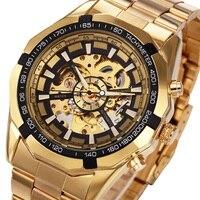 WINNER Men Wrist Watch Top Brand Luxury Golden Men Mechanical Skeleton Sport Wristwatch Fashion Forsining Design
