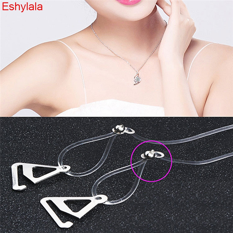 Clear Bra Straps Metal Clips Transparent See through Adjustable Dress Discreet