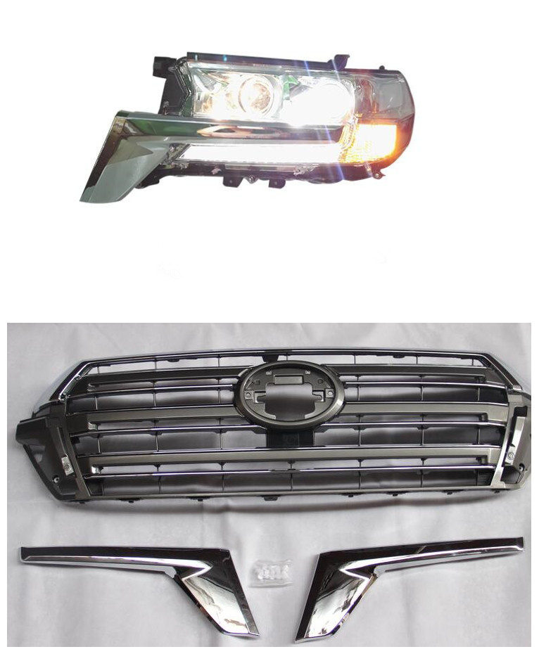 Factory Supported Car FOR Toyota Land Cruiser 200 LC200 FJ200 2016  Headlight Projector lens Light with Grills for toyota fj cruiser 2007 13 double