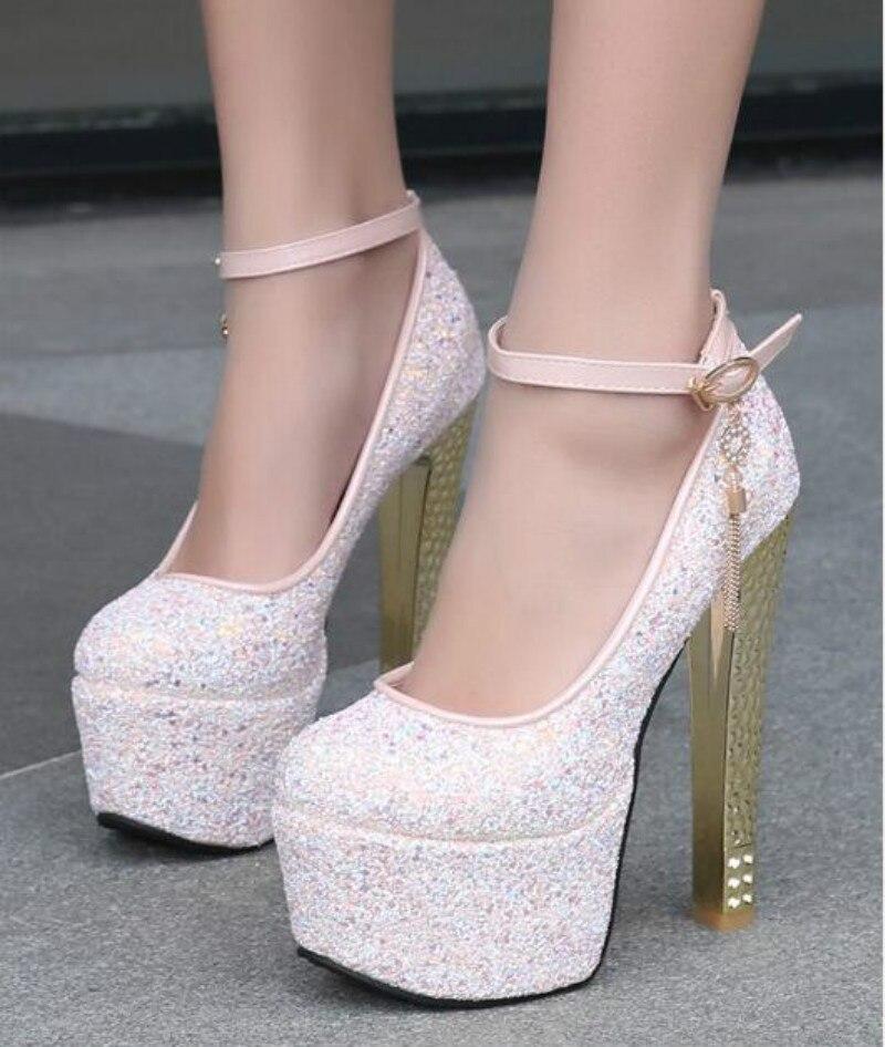 Autumn waterproof sequins 15cm high heels Thick thick heels Pink nightclub shoes