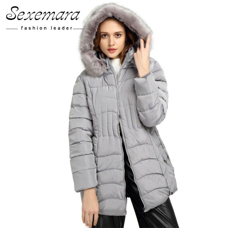 ФОТО Plus Size Women Fur Hooded Parka ,Coat Anorak Down Parkas Long Sleeve 2017 Button Zipper Outwear Thick Winter Jacket Women Coat