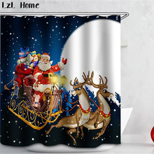 LzL Home Festival 3D Shower Curtain Creative Waterproof Bathroom Curtains Christmas Halloween Decor Accessories 12 Hooks