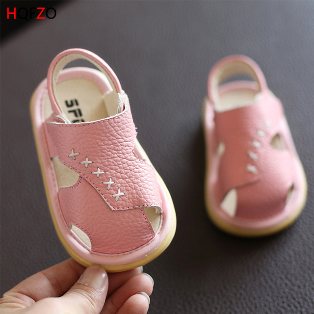 High Quality Summer Baby Platform Sandals Female Boy Genuine Leather Baby Shoes 1-3 Age Soft Bottom Toe Toddler Shoes Oxford