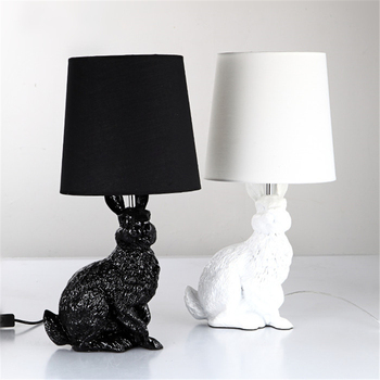 White Rabbit Table Lamp For Living room Bedroom Hotel Besides Lamp luminaria mesa Animal Home Deco Resin industrial table lamp