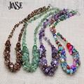 JINSE Lujo Piedra Natural de La Joyería Del Estilo de Bohemia Étnico Colorido Collar de Cadena Cristalino Del Grano de la Turquesa Collier Femme BLS127