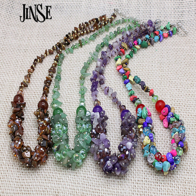 JINSE Luxurious Ethnic Jewelry Natural Stone Bohemia Style Colorful Bead stone Crystal Chain Necklace Collier Femme BLS127JINSE Luxurious Ethnic Jewelry Natural Stone Bohemia Style Colorful Bead stone Crystal Chain Necklace Collier Femme BLS127