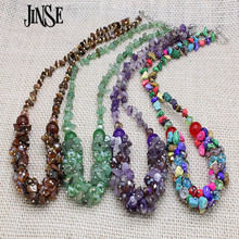 BLS127 Luxurious Ethnic Jewelry Natural Stone Bohemia Style Colorful Bead Turquoise Crystal Chain Necklace Collier Femme