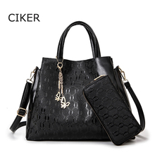 CIKER Brand 2pcs/set purses and handbags luxury women leather shoulder bags fashion tote bag messenger bags embossing sac a main
