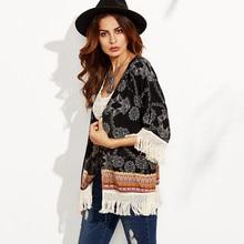 цена на 2019 Fashion Women Vintage Print Tassel Beach Cover Up Black Kimono Swimwear Wraps Cardigan Blouse Plus Size