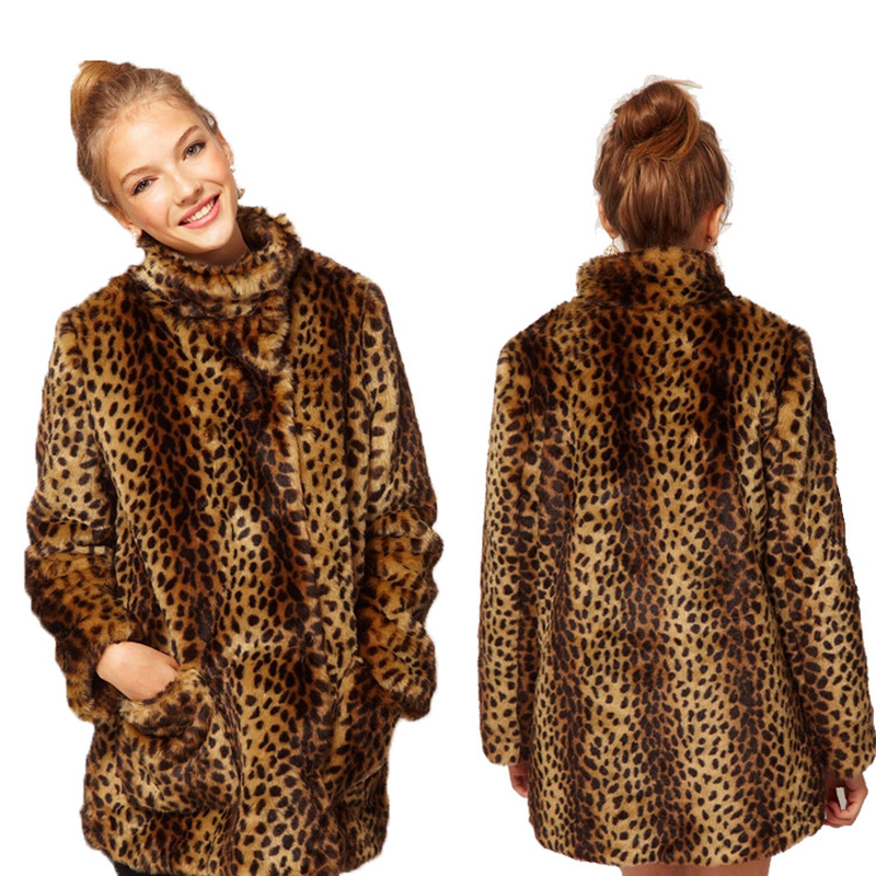 S-4XL Womens Faux Fur Leopard Warm Coats Thicken Stand Collar Long Parka Outwear Furry Plus Size