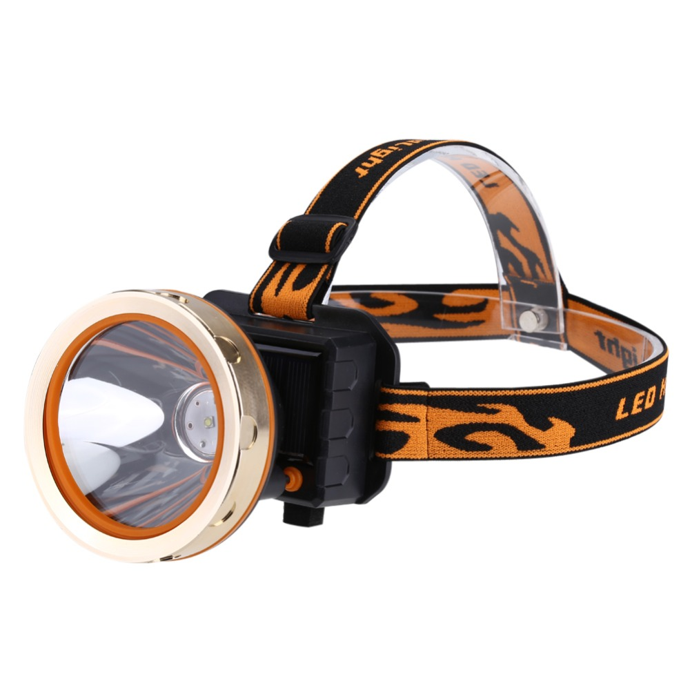 Solar Rechargeable LED Headlamp 3 Modes Waterproof Headlight Head-Mounted Miner's Lamp Outdoor long-Range Searchlight For Hiking