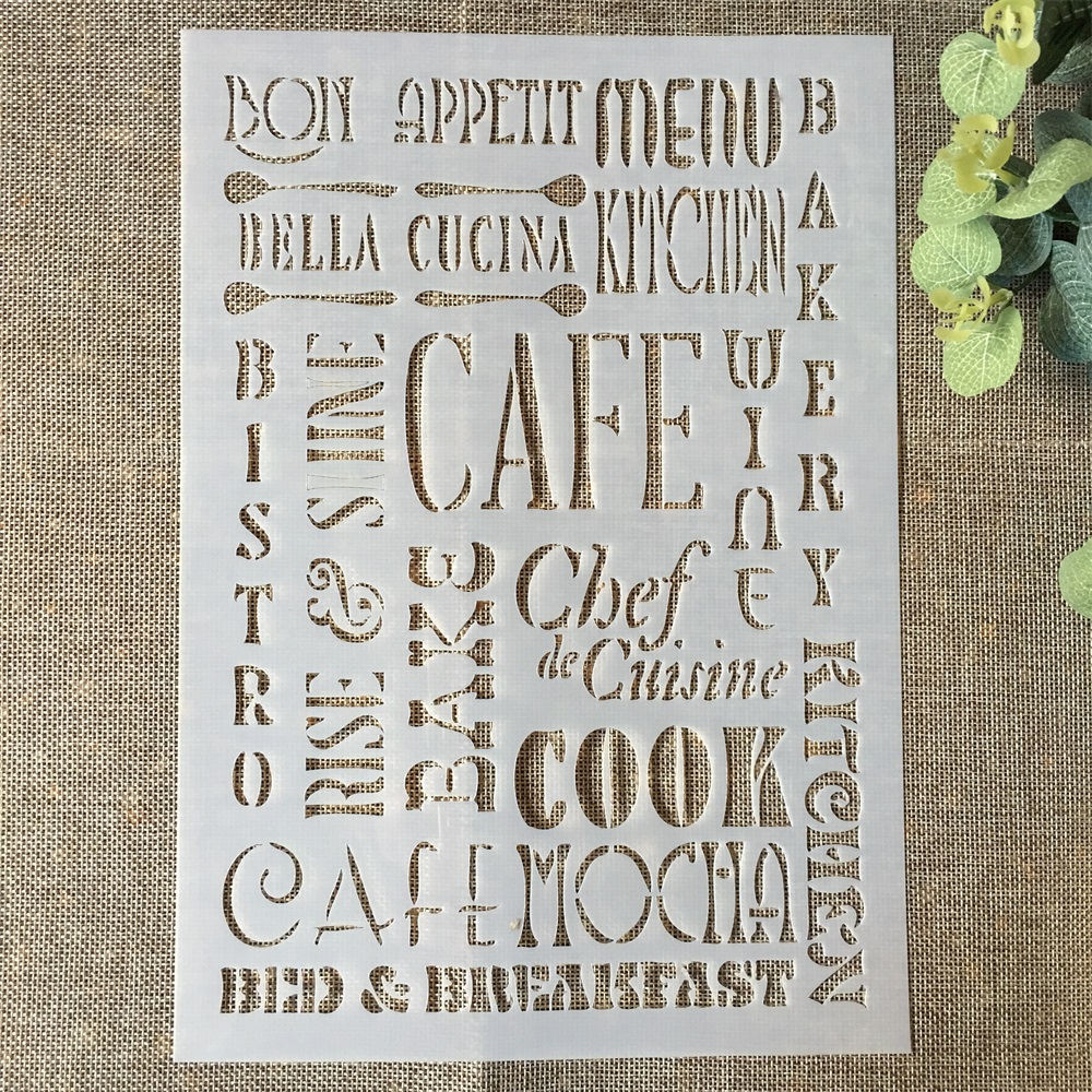 29*21cm CAFE Words DIY Layering Stencils Wall Painting Scrapbook Coloring Embossing Album Decorative Paper Card Template