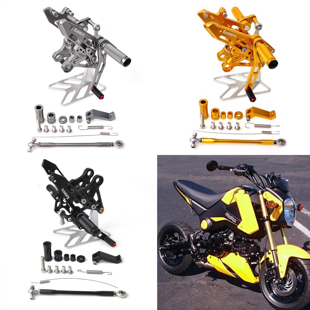 ホンダグロムMSX 125 2013-2015 2013 2014 2015新しいホンダグロムフットレスト用3色MotocyleフットレストCNC調整可能なリアセットフットレストペグ