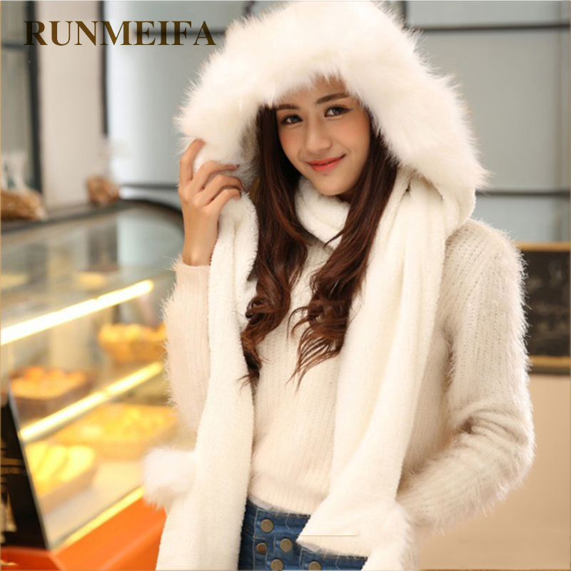 [RUNMEIFA]  Winter Warm Gloves Women Hoodie Pocket Earflap Hat With Fur Trim Long Scarf Snood Wraps Double Use Scarf And Gloves