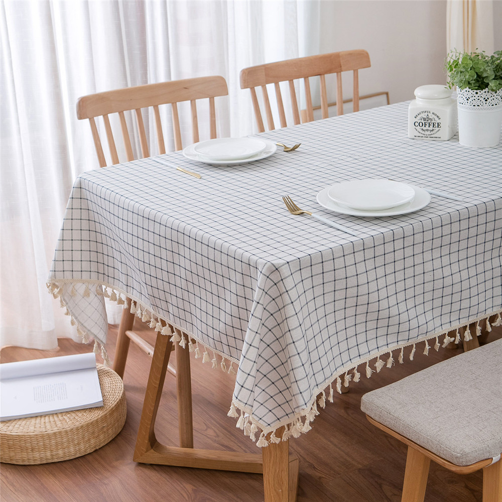Cotton Linen Table Cloth Mediterranean White Blue Plaid